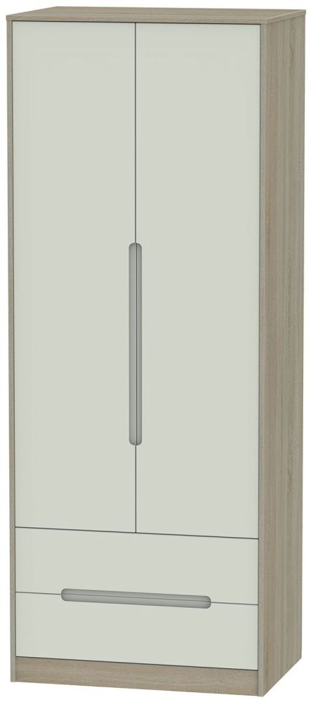 Monaco 2 Door 2 Drawer Tall Wardrobe - Kaschmir and Darkolino
