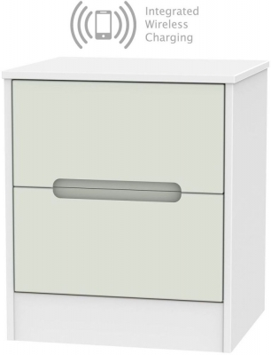 Monaco 2 Drawer Bedside Cabinet with Integrated Wireless Charging - Kaschmir and White