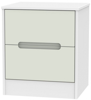Monaco Kaschmir and White Bedside Cabinet - 2 Drawer Locker
