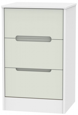Monaco Kaschmir and White Bedside Cabinet - 3 Drawer Locker