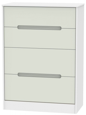 Monaco Kaschmir and White Chest of Drawer - 4 Drawer Deep