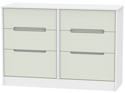 Monaco Kaschmir and White Chest of Drawer - 6 Drawer Midi