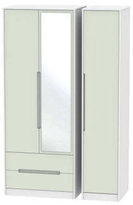 Monaco Kaschmir and White Triple Wardrobe - Tall with 2 Drawer and Mirror