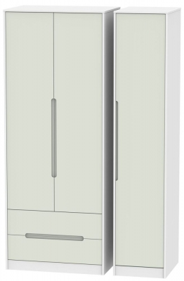 Monaco 3 Door 2 Left Drawer Tall Wardrobe - Kaschmir and White