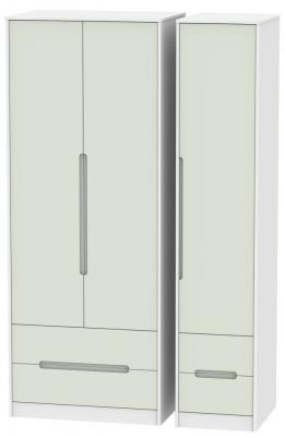Monaco 3 Door 4 Drawer Tall Wardrobe - Kaschmir and White