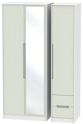 Monaco Kaschmir and White Triple Wardrobe - Tall with Mirror and 2 Drawer