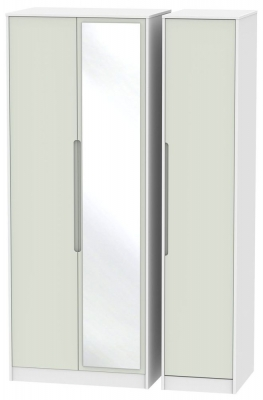 Monaco 3 Door Tall Mirror Wardrobe - Kaschmir and White