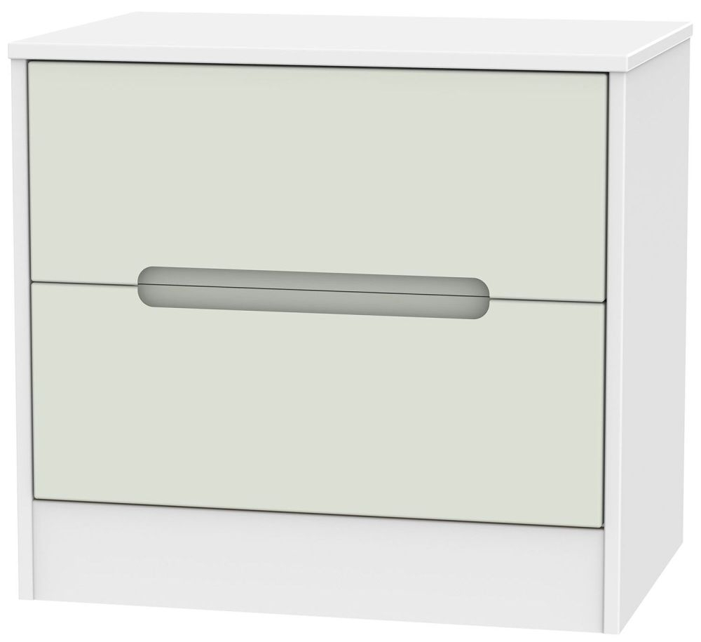 Monaco Kaschmir and White Chest of Drawer - 2 Drawer Midi