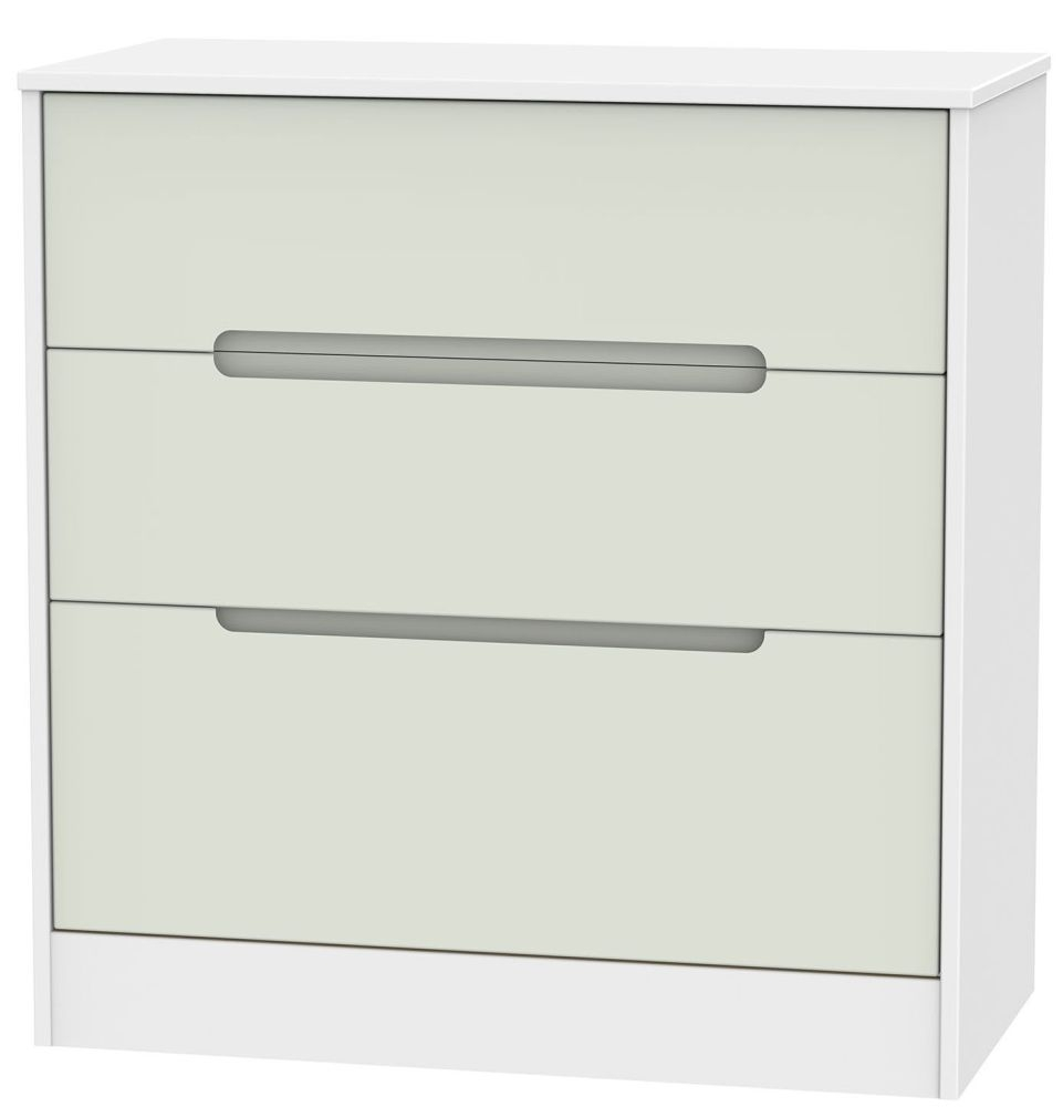 Monaco Kaschmir and White Chest of Drawer - 3 Drawer Deep