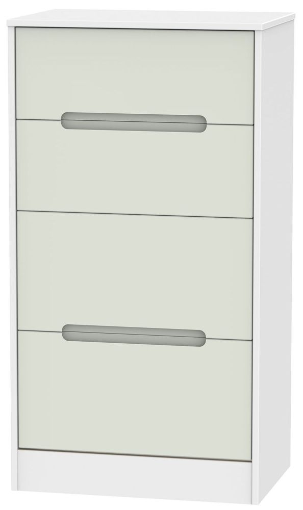 Monaco Kaschmir and White Chest of Drawer - 4 Drawer Deep Midi