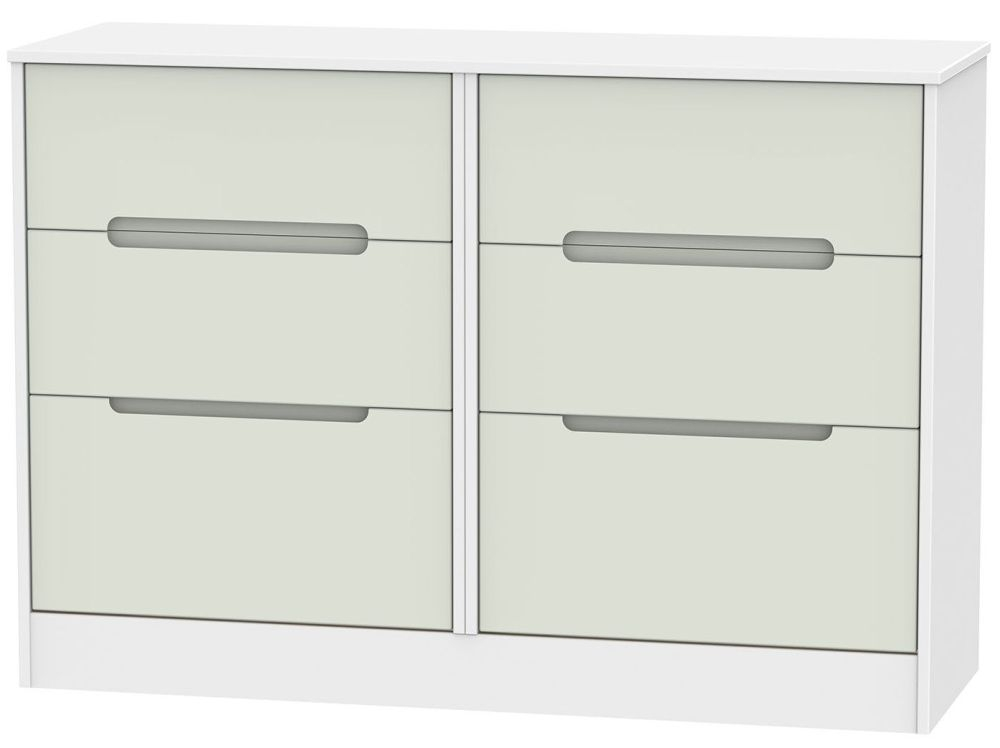 Monaco Kaschmir and White 6 Drawer Midi Chest