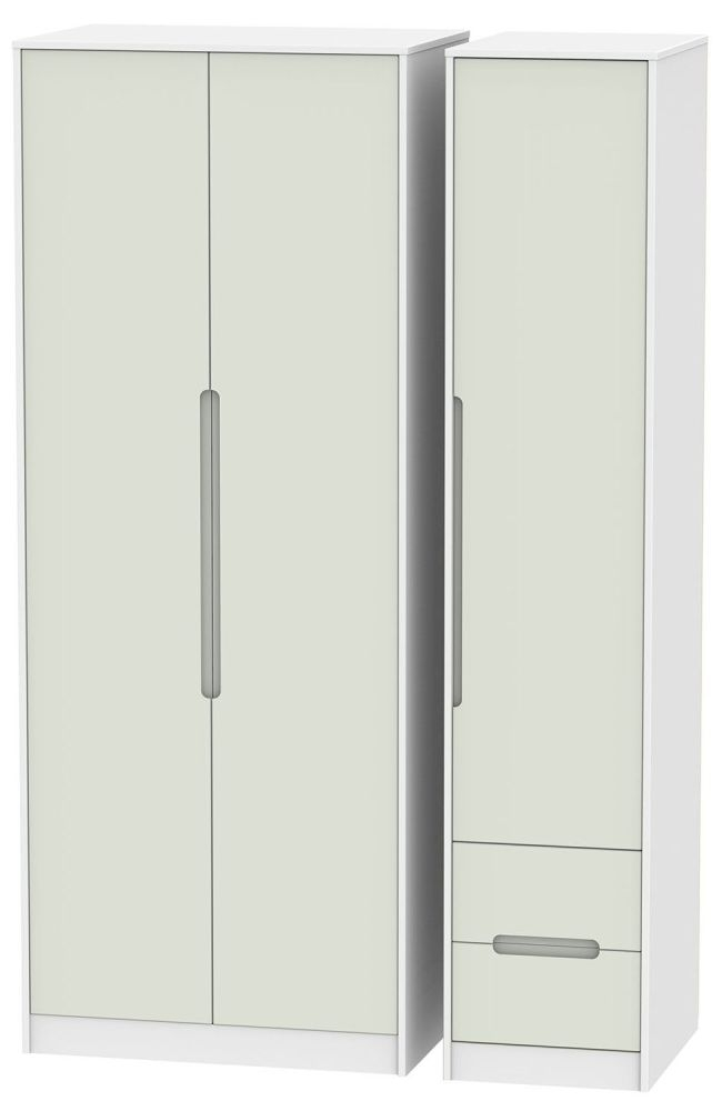 Monaco Kaschmir and White Triple Wardrobe - Tall Plain with 2 Drawer