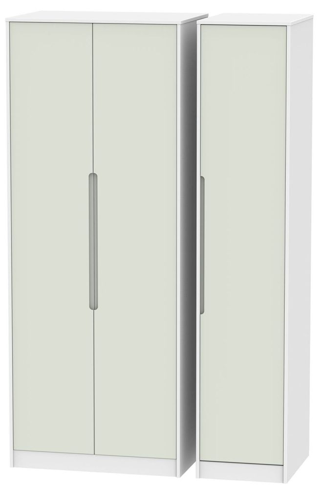 Monaco 3 Door Tall Wardrobe - Kaschmir and White