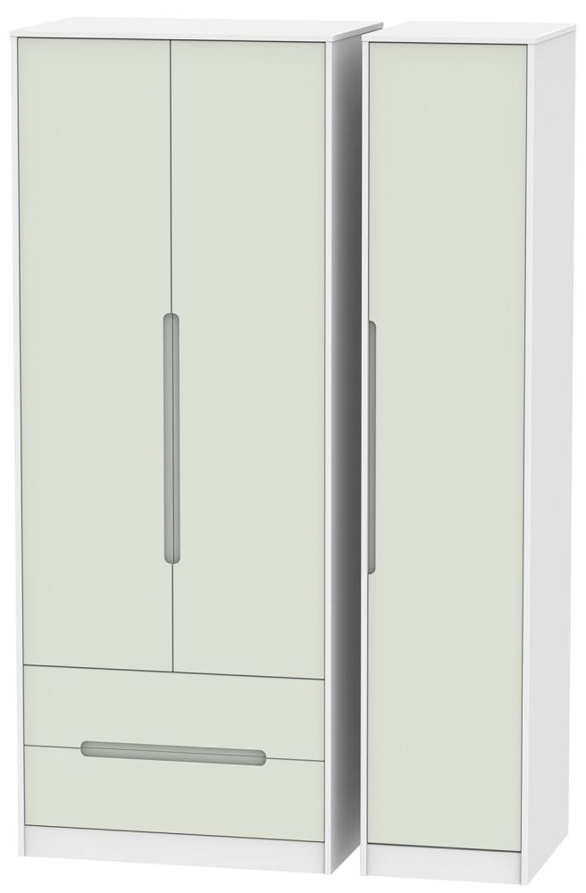 Monaco Kaschmir and White 3 Door 2 Drawer Tall Triple Wardrobe