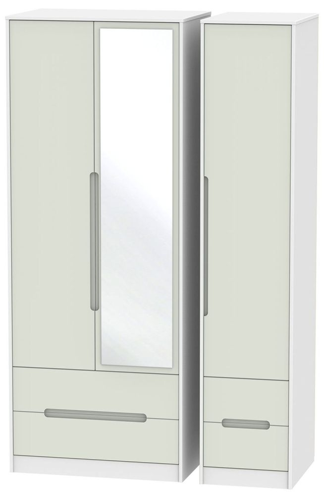 Monaco Kaschmir and White Triple Wardrobe - Tall with Drawer and Mirror