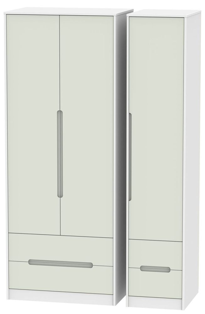 Monaco Kaschmir and White Triple Wardrobe - Tall with Drawer