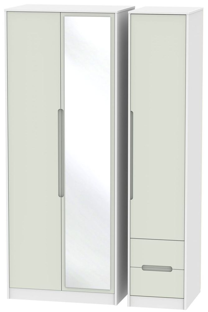 Monaco Kaschmir and White 3 Door 2 Right Drawer Tall Mirror Triple Wardrobe