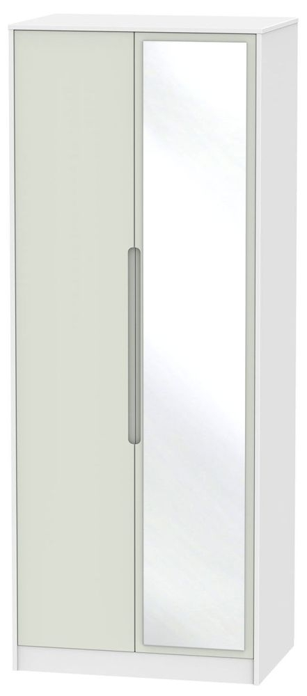 Monaco Kaschmir and White Wardrobe - Tall 2ft 6in with Mirror
