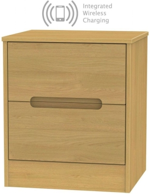 Monaco Modern Oak 2 Drawer Bedside Cabinet with Integrated Wireless Charging