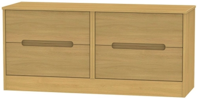 Monaco Modern Oak Bed Box - 4 Drawer