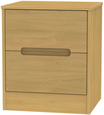 Monaco Modern Oak Bedside Cabinet - 2 Drawer Locker