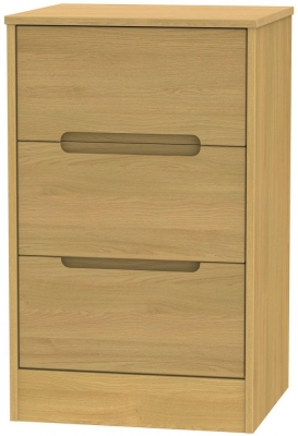 Monaco Modern Oak Bedside Cabinet - 3 Drawer Locker
