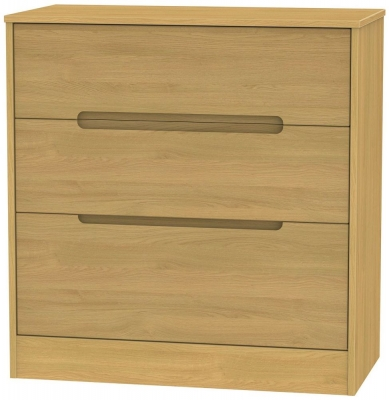 Monaco Modern Oak Chest of Drawer - 3 Drawer Deep