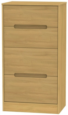 Monaco Modern Oak Chest of Drawer - 4 Drawer Deep Midi