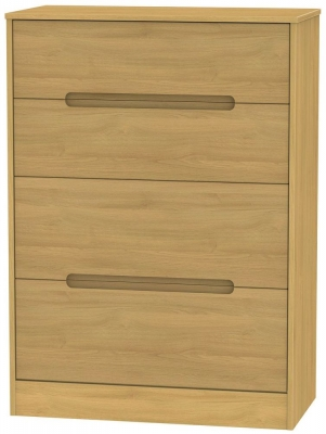Monaco Modern Oak Chest of Drawer - 4 Drawer Deep
