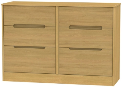 Monaco Modern Oak Chest of Drawer - 6 Drawer Midi