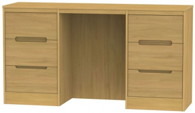 Monaco Modern Oak Dressing Table - Knee Hole Double Pedestal