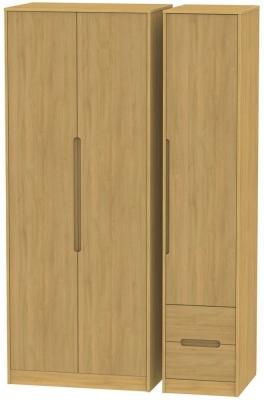 Monaco Modern Oak 3 Door 2 Right Drawer Tall Wardrobe