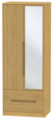 Monaco Modern Oak 2 Door Tall Combi Wardrobe