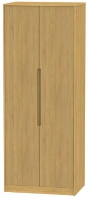 Monaco Modern Oak 2 Door Tall Hanging Wardrobe