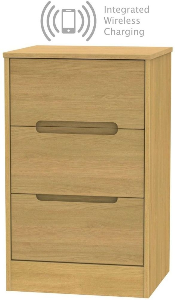 Monaco Modern Oak 3 Drawer Bedside Cabinet with Integrated Wireless Charging