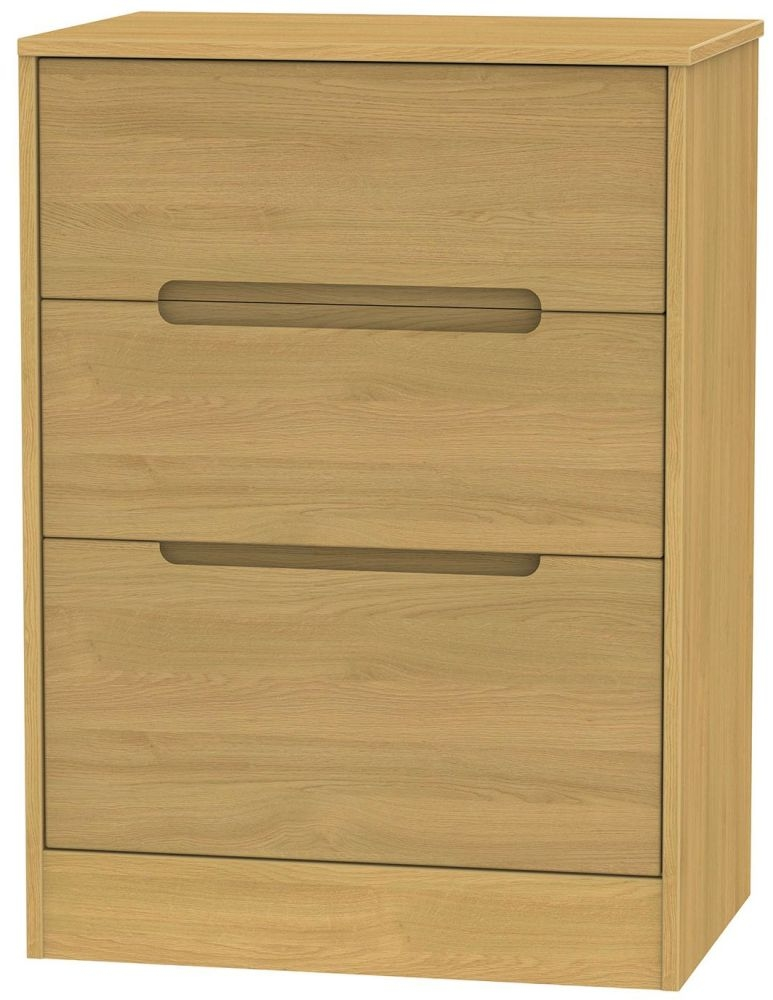 Monaco Modern Oak Chest of Drawer - 3 Drawer Deep Midi