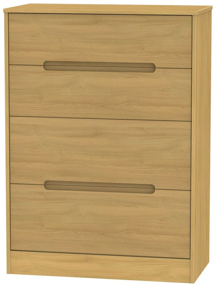 Monaco Modern Oak 4 Drawer Deep Chest