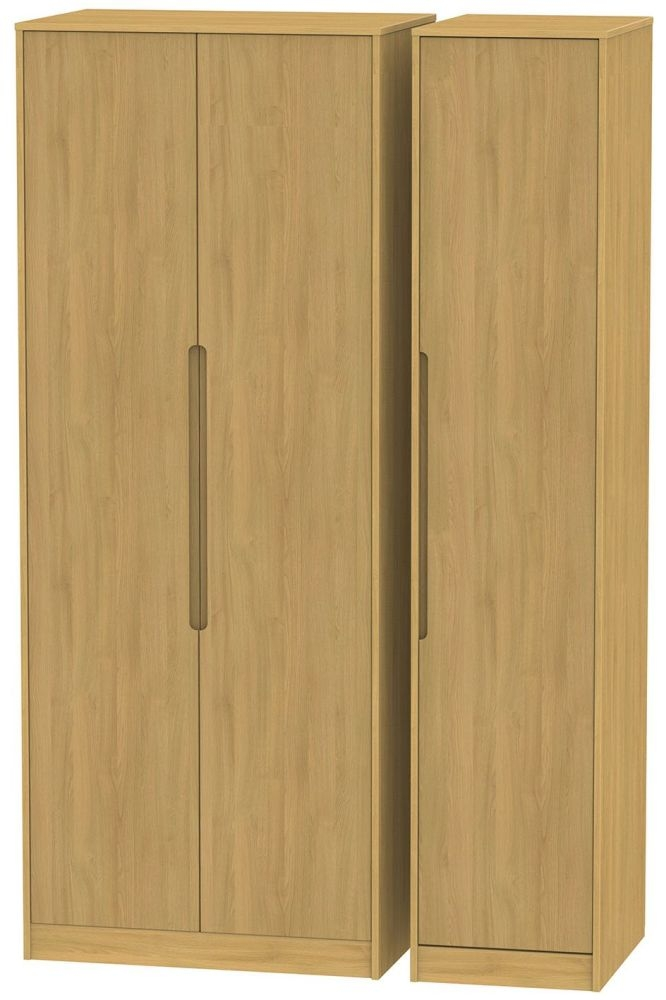 Monaco Modern Oak 3 Door Tall Plain Triple Wardrobe