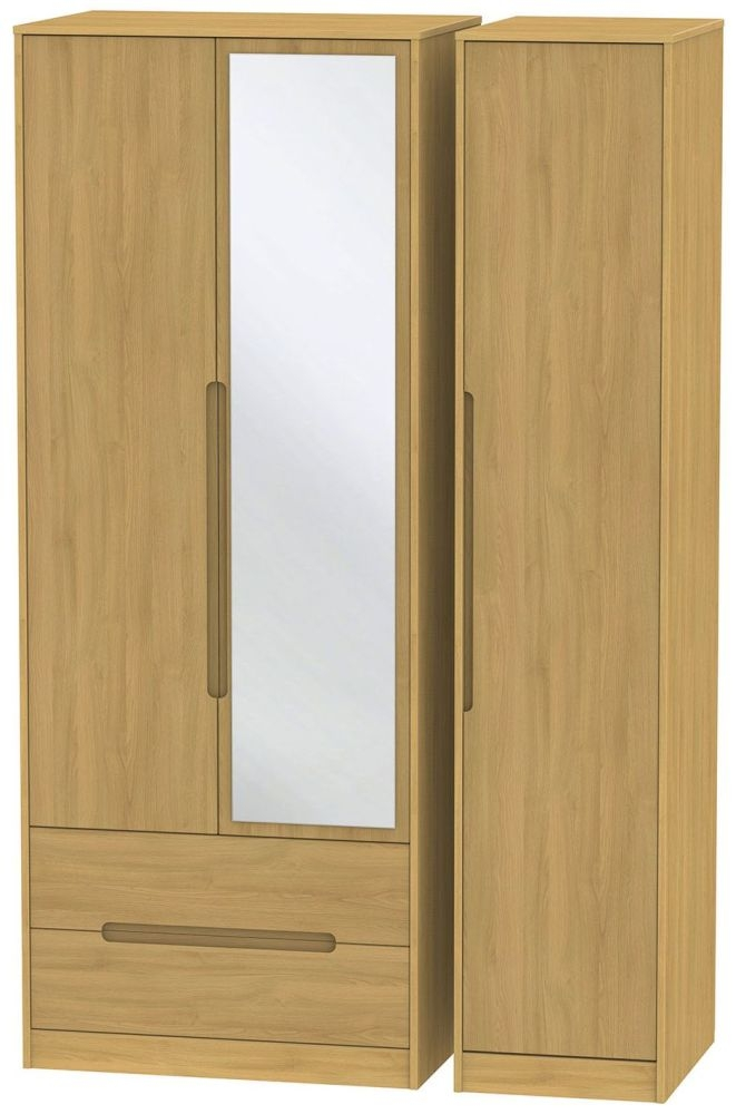 Monaco Modern Oak 3 Door 2 Left Drawer Tall Mirror Triple Wardrobe