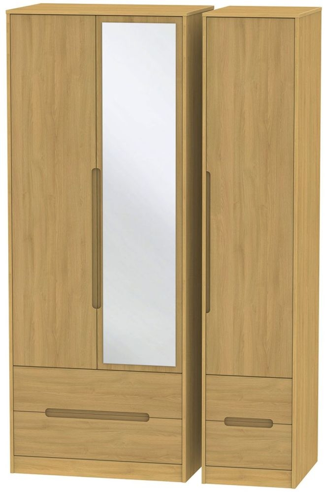 Monaco Modern Oak Triple Wardrobe - Tall with Drawer and Mirror