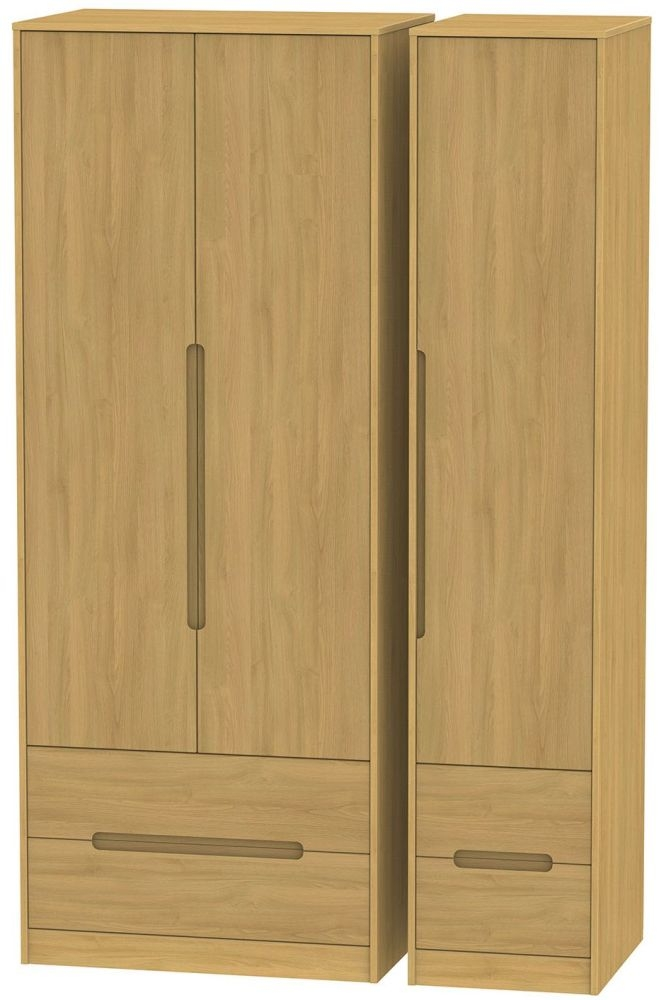 Monaco Modern Oak Triple Wardrobe - Tall with Drawer
