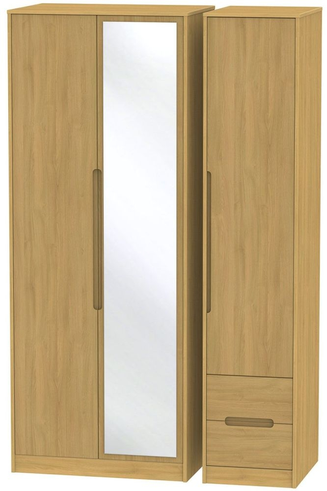Monaco Modern Oak Triple Wardrobe - Tall with Mirror and 2 Drawer