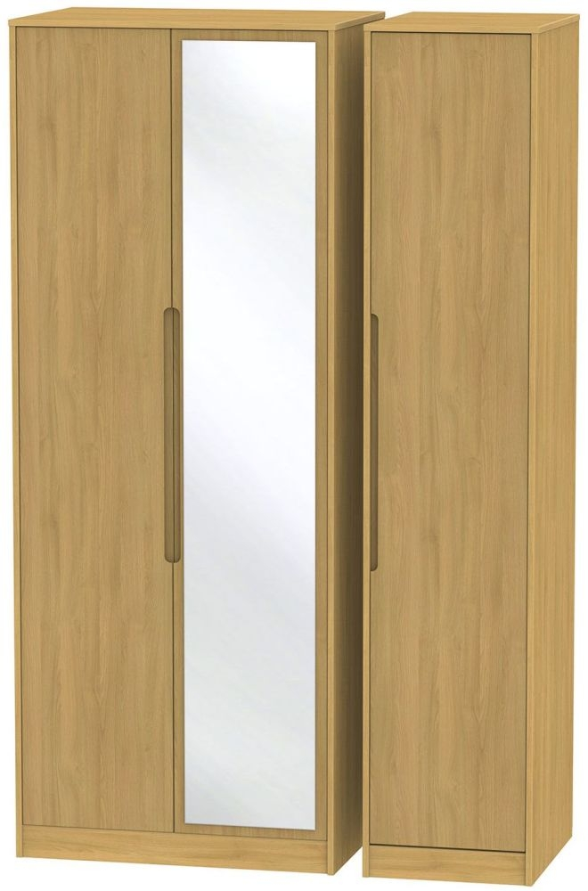 Monaco Modern Oak Triple Wardrobe - Tall with Mirror