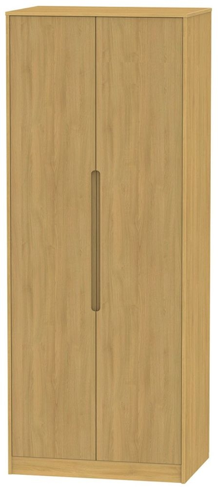 Monaco Modern Oak 2 Door Tall Plain Double Wardrobe