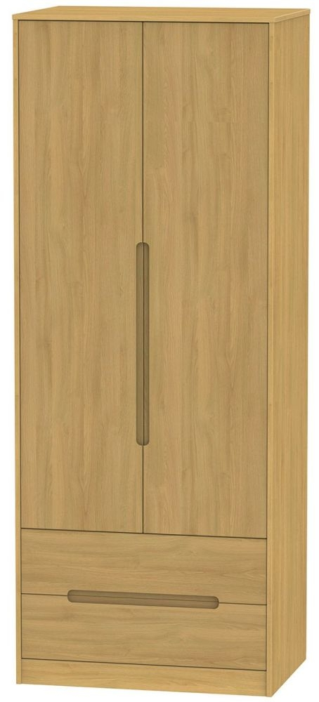Monaco Modern Oak 2 Door 2 Drawer Tall Wardrobe