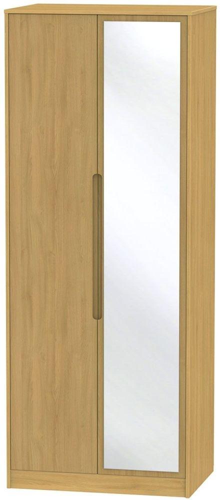 Monaco Modern Oak 2 Door Tall Mirror Wardrobe