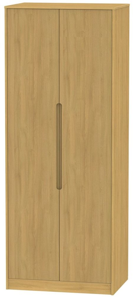 Monaco Modern Oak 2 Door Tall Double Hanging Wardrobe