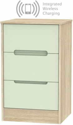 Monaco 3 Drawer Bedside Cabinet with Integrated Wireless Charging - Mussel and Bardolino
