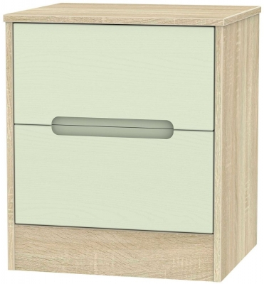 Monaco 2 Drawer Bedside Cabinet - Mussel and Bardolino