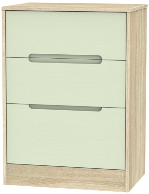 Monaco Mussel and Bardolino Chest of Drawer - 3 Drawer Deep Midi